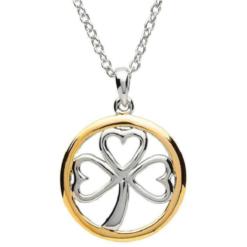 Two Tone Shamrock Circle Necklace