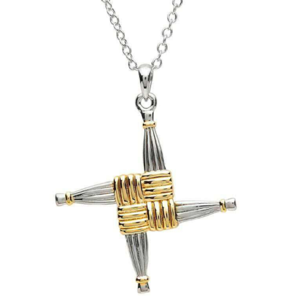 Two Tone Large St Brigid Cross Necklace