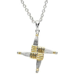 Two Tone St Brigid Cross Necklace