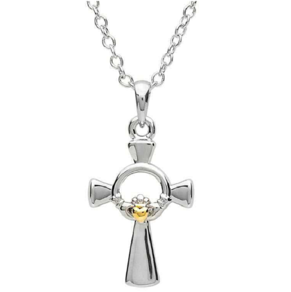 Two Tone Claddagh Cross Necklace