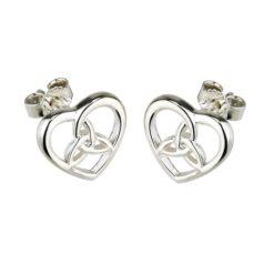 Heart & Trinity Knot Stud Earrings