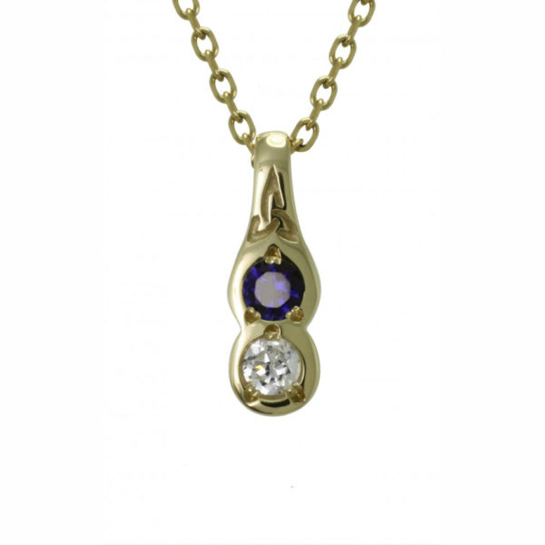 Family Colours Two Stones Pendant Gold