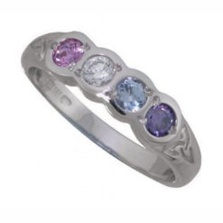 Family Colours Four Stones Ring Silver