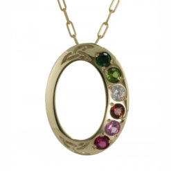 Family Colours Six Stones Oval Gold