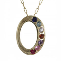 Family Colours Seven Stones Oval Gold