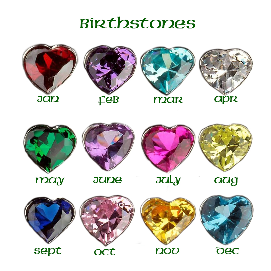 Mother's Family Pendant Birthstone Color Chart