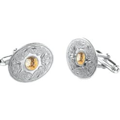 Celtic Warrior Cufflinks 18k Bead in Sterling Silver