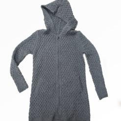 Coolquay Aran Knit Long Hoodie Steel Marl Grey