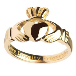 Ladies Engraved Solid Gold Claddagh Ring