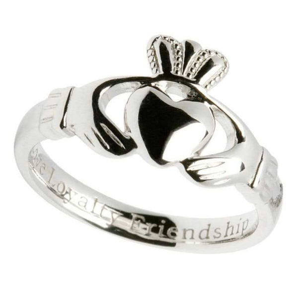 Ladies Engraved Comfort Fit Claddagh Ring Sterling Silver