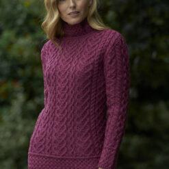 Mock Turtle Neck Sweater Magenta