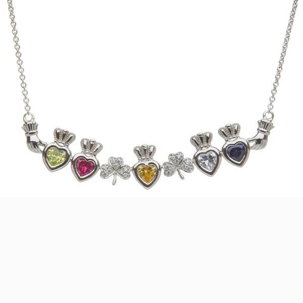 Mothers Family Pendant Necklace Five Birthstone Heart Shamrock