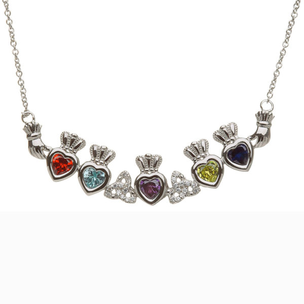 Mothers Family Pendant Necklace Five Birthstone Heart Trinity Knots