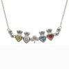 Mothers Family Pendant Necklace Four Birthstone Heart Shamrock