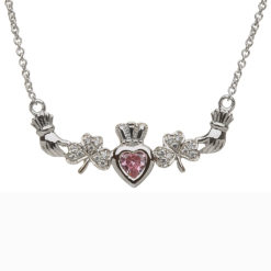 Mothers Family Birthstone Pendant Necklace One Heart Shamrocks