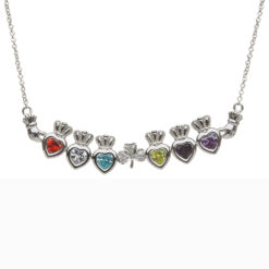 Mothers Family Birthstone Pendant Necklace Six Heart Shamrock