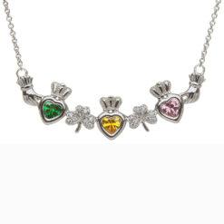 Mothers Family Birthstone Pendant Necklace Three Heart Shamrocks