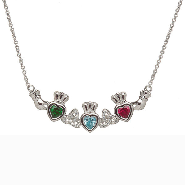 Mothers Family Pendant Birthstone Necklace Three Heart Trinity Knots