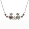 Mothers Family Pendant Birthstone Necklace Two Heart Trinity Knot