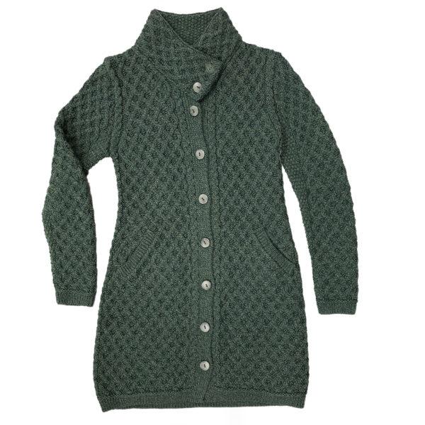 Aran Knit West End Ladies Cross Over Neck Knit Coat