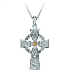 Celtic Warrior Small Cross Pendant Necklace Ardagh Chalice Design Gold Center