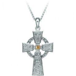 Celtic Warrior Small Cross Pendant Necklace Ardagh Chalice Design Gold Center