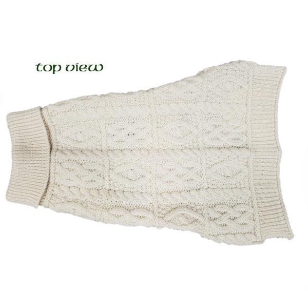 Aran Knit Merino Dog Sweater Top Side View
