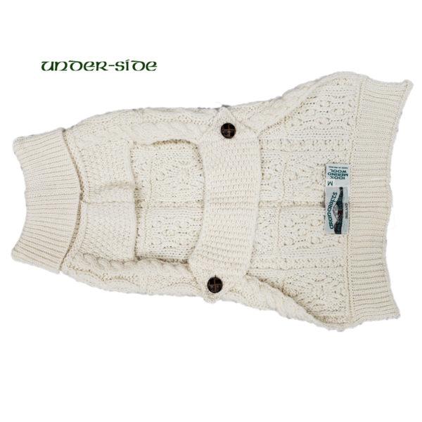 Aran Knit Merino Dog Sweater Under Side