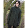 Aran Knit Crossover Neck Buttoned Coat Sweater