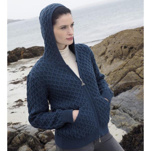 Aran Knit Honeycomb Hoodie Irish Sweater