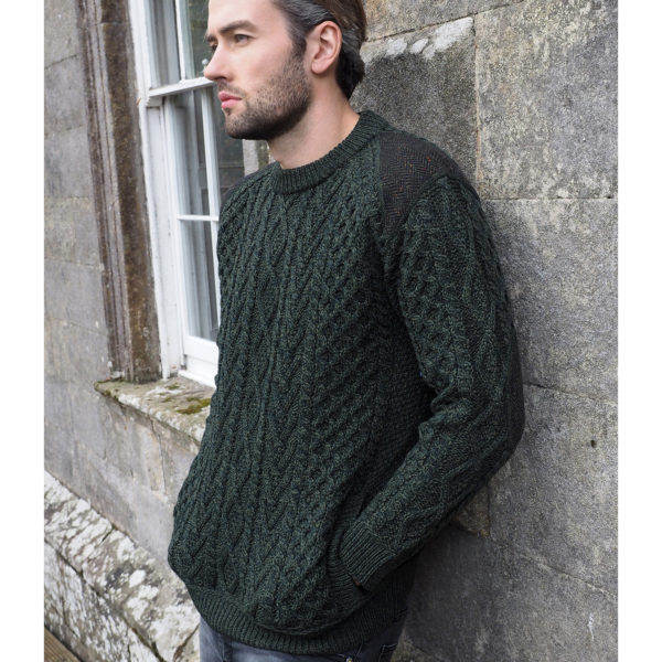 Aran Knit Mens Tweed Sweater Crew with Elbow and Shoulder Patches