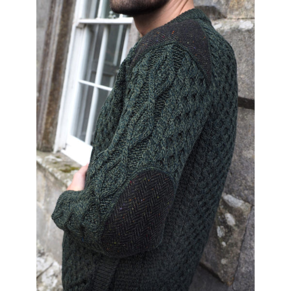 Details of Aran Knit Mens Tweed Sweater Crew with Elbow and Shoulder Patches 2