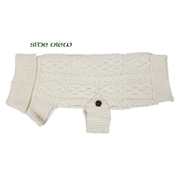 Aran Knit Merino Dog Sweater Buttoned Side View