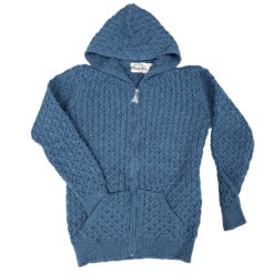Hooded Honeycomb Stitch Aran Knit Cardigan
