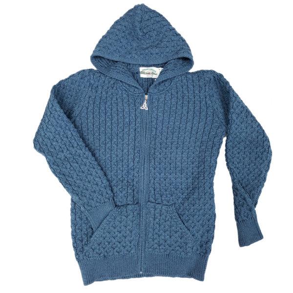 Hooded Honeycomb Stitch Aran Knit Cardigan