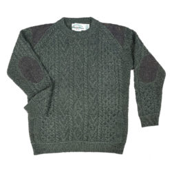 Details of Aran Knit Mens Tweed Sweater Crew with Elbow and Shoulder Patches