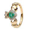 Emerald DIamond Gold Claddagh Engagement Ring