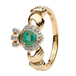 Emerald DIamond Gold Claddagh Engagement Ring