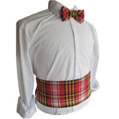 Maryland State Flag Tartan Cummerbund Bow Tie Modeled