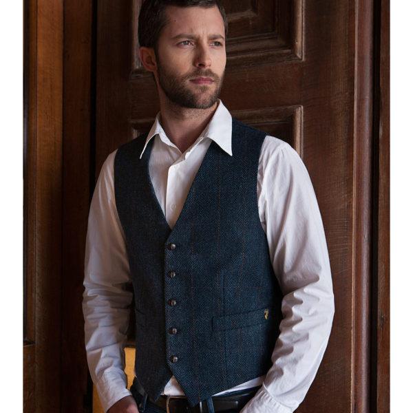 Blue Tweed Waistcoat Muckros 34