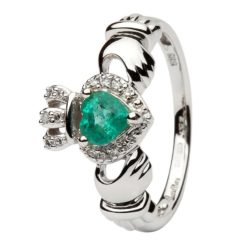 Emerald Diamond White Gold Claddagh with diamonds