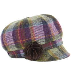 Tweed Newsboy Cap Pink/Green-574-1