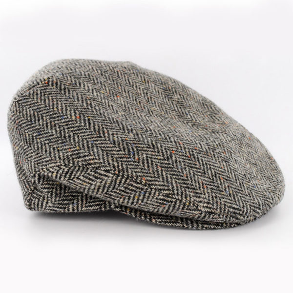Trinity Flat Cap Tweed Gray Herringbone