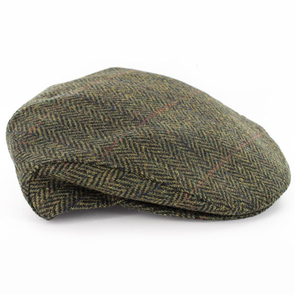 Trinity Flat Cap Tweed Green Herringbone