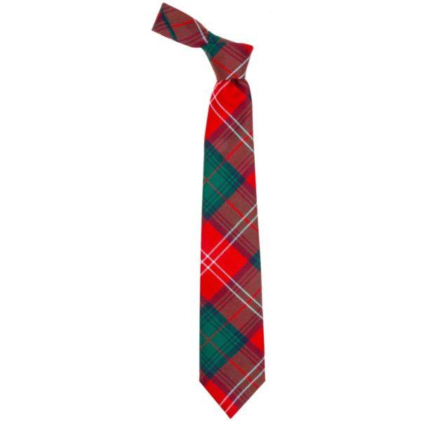 Chisholm Clan Red Modern Tartan Wool Neck Tie