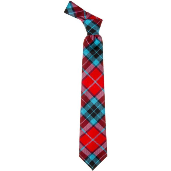 Thompson Clan Red Modern Tartan Wool Neck Tie