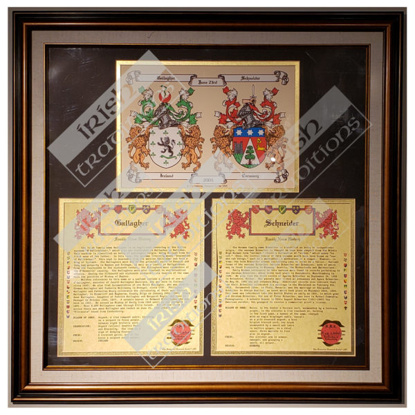 Anniversary Collection Framed Double Coasts of Arms with 2 histories