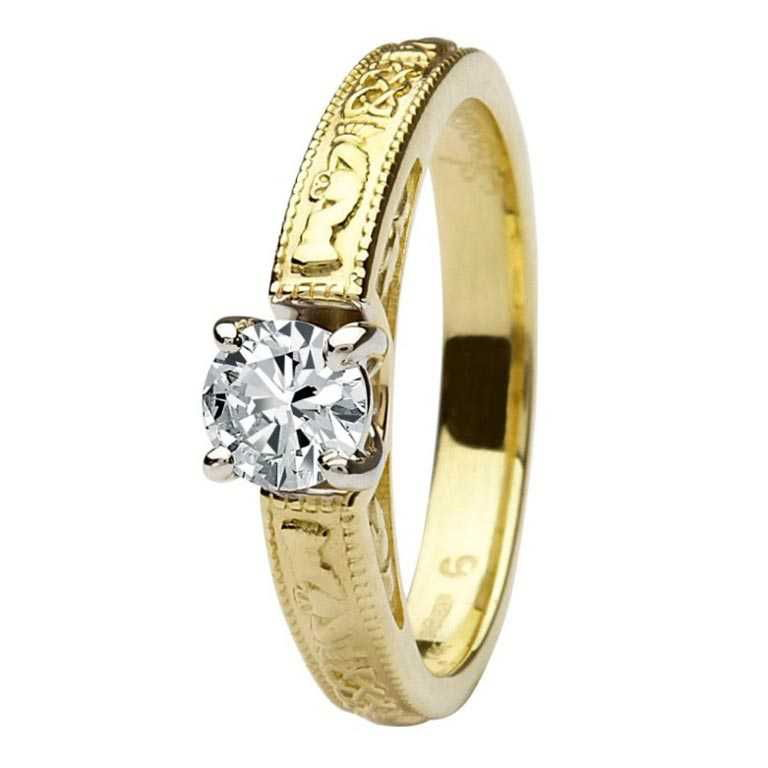 Solitaire Engagement Ring with Claddagh Band Design ...