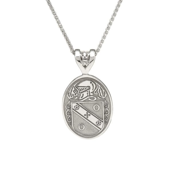 Oval Pendant Coat of Arms Jewelry Stirling Silver