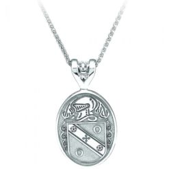 Oval Pendant Coat of Arms Jewelry White Gold